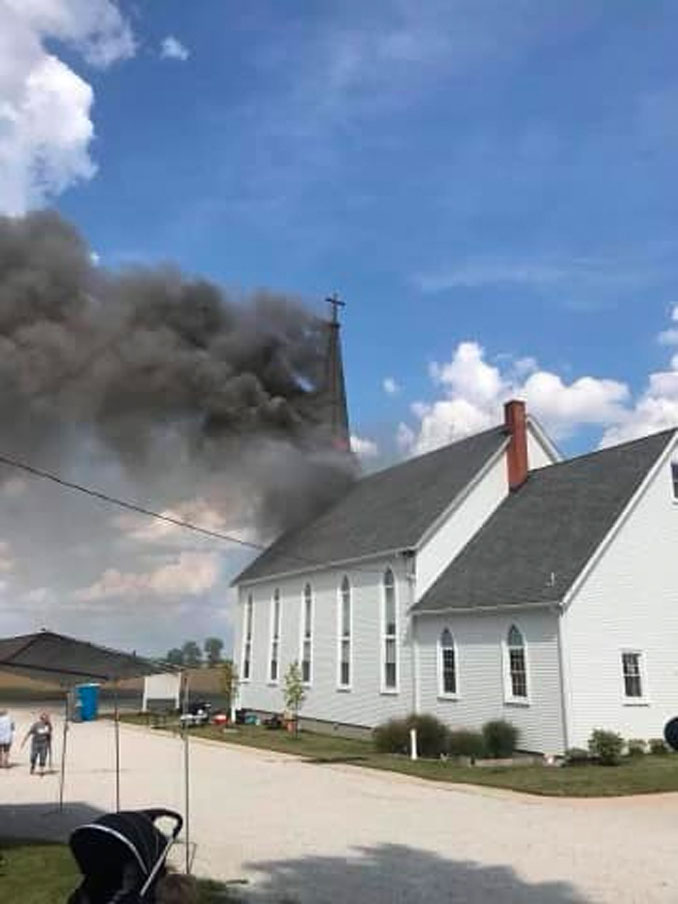 Smoke showing from the steeple at St Paul's Lutheran Church in Beecher, Illinois (SOURCE: St. Paul's Ev Lutheran Church – LCMS in Chicago Heights)