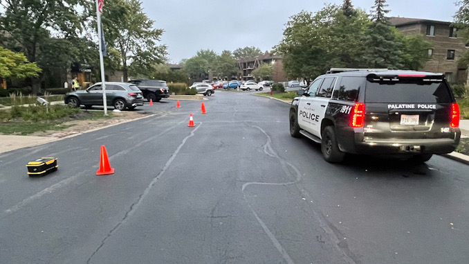 Hit-and-run pedestrian incident investigation on Constitution Drive east of Hicks Road in Palatine