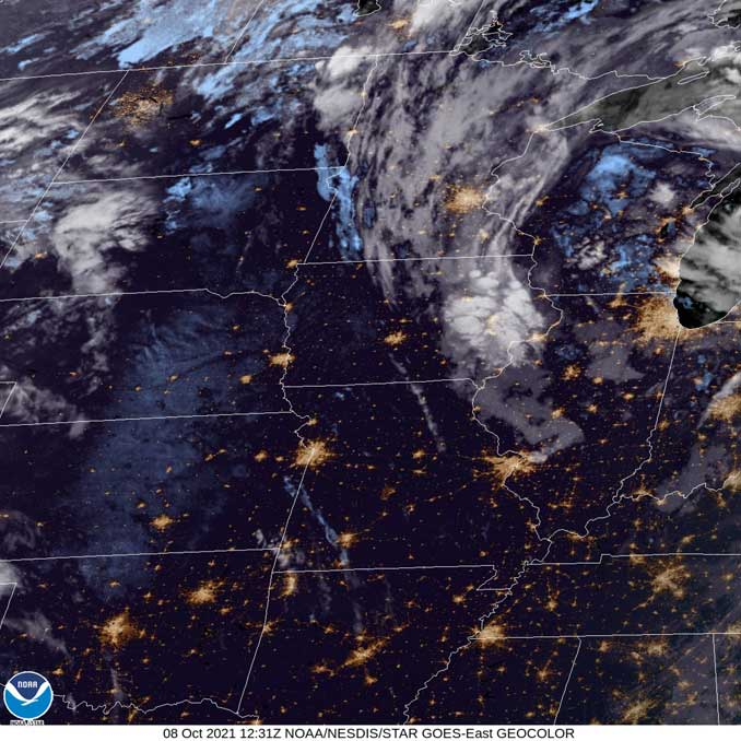 NOAA/NESDIS/STAR GOES-East GEOCOLOR at7:31 a.m. CDT on Friday, October 8, 2021