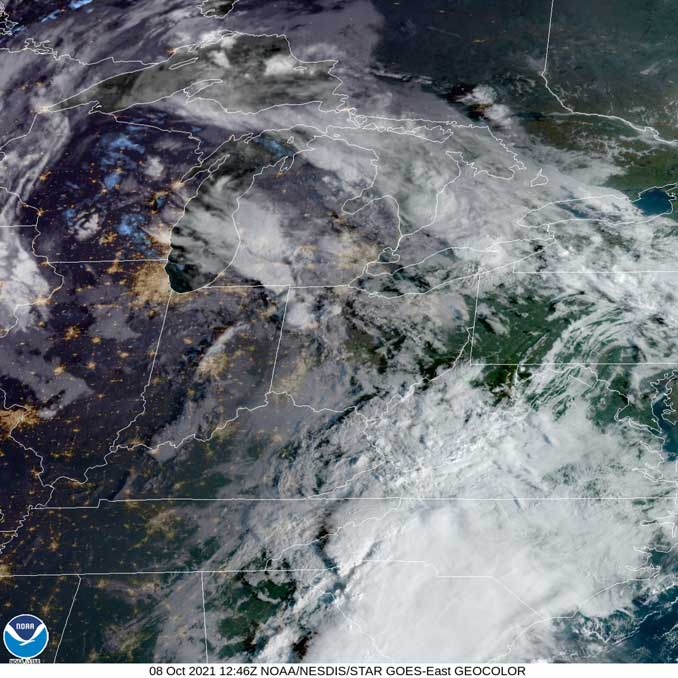 NOAA/NESDIS/STAR GOES-East GEOCOLOR at 7:46 a.m. CDT on Friday, October 8, 2021