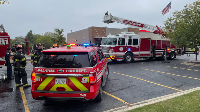 Palatine Tower 85 crew on the roof at Burger King in Palatine