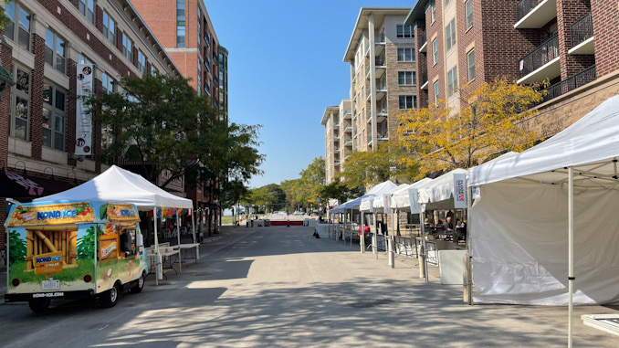 Looking west on Campbell Street during setup for Harmony Fest