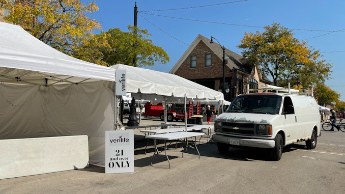 A 21 and over tent for Verilife on Campbell Street just west of Vail Avenue in Arlington Heights