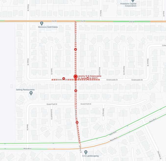 Aircraft crash map in Santee, California on Monday, October 12, 2021 (SOURCE: Map Data ©2021 Google)