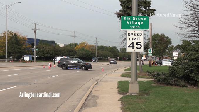Crash investigators at the scene of a fatal hit-and-run crash on Higgins Road west of Elmhurst Road in Elk Grove Village Wednesday, October 13, 2021.