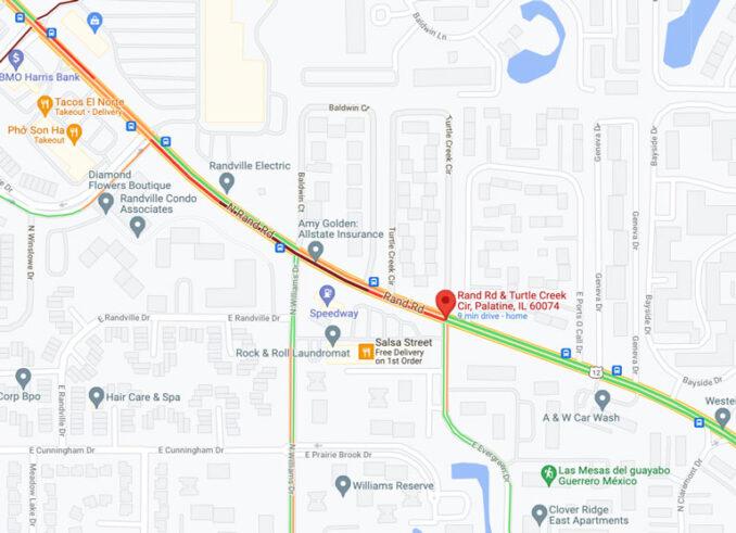 Crash map Rand Road and Turtle Creek Drive Palatine (Map data ©2021 Google)