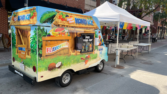 Kona Ice truck on Campbell Street by Armand's of Arlington Heights