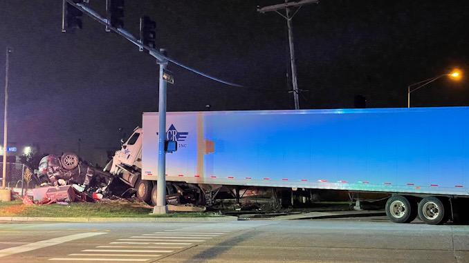 Crash scene at Dempster Street and Linneman Road in Mount Prospect.