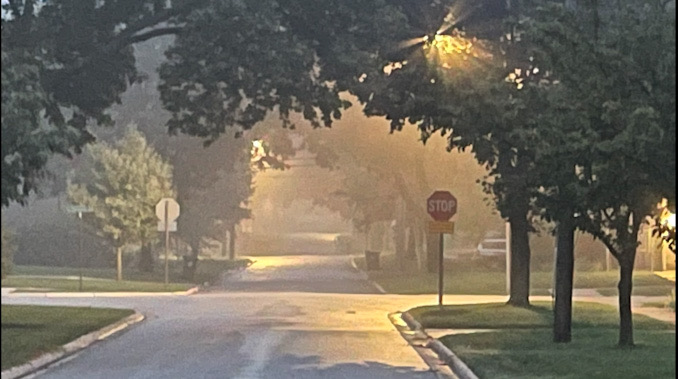 Moderate fog in central Arlington Heights about 7:00 a.m. Friday morning, October 8, 2021