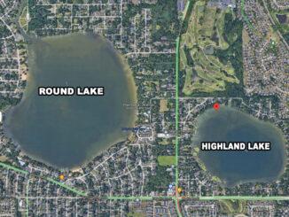 Highland Lake in unincorporated Round Lake (Imagery ©2021 Google, Imagery ©2021 Maxar Technologies, U.S. Geological Survey, USDA Farm Service Agency, Map data ©2021)