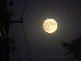 Hunter's Moon Rising over Oakton Street about 6:30 p.m. CDT on Tuesday, October 19, 2021