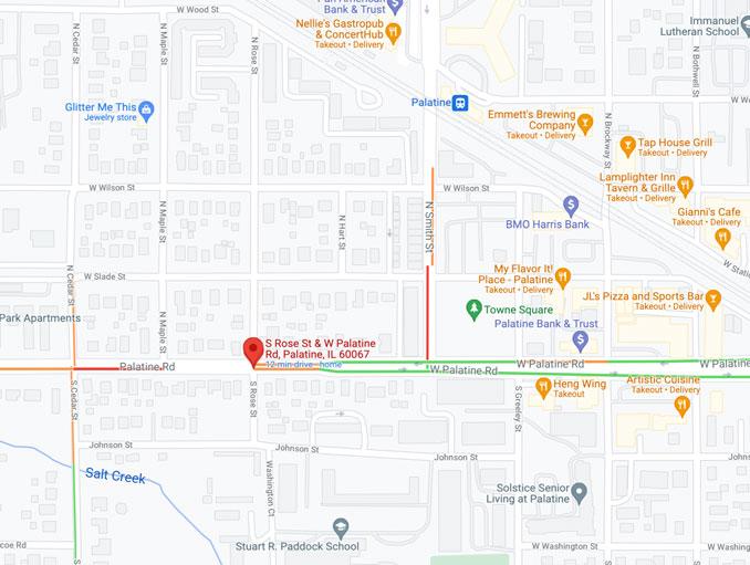 Palatine Road closure at Rose Street October 01, 2021 (Map data ©2021 Google)