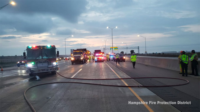 Secondary crash scene at road block at I-90 and Illinois Route 23 (PHOTO CREDIT: Hampshire Fire Protection District)