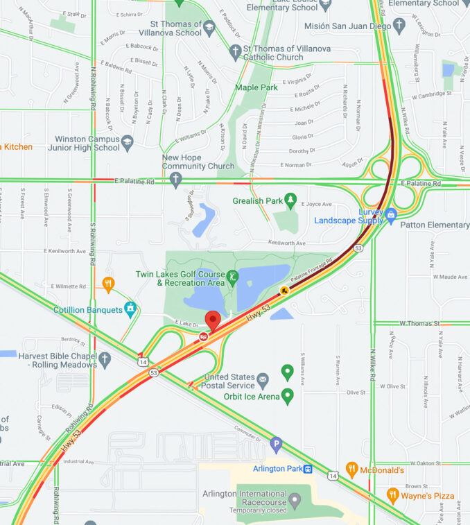Vehicle Fire Map IL-53 over US-14 (SOURCE: Map data ©2021 Google)